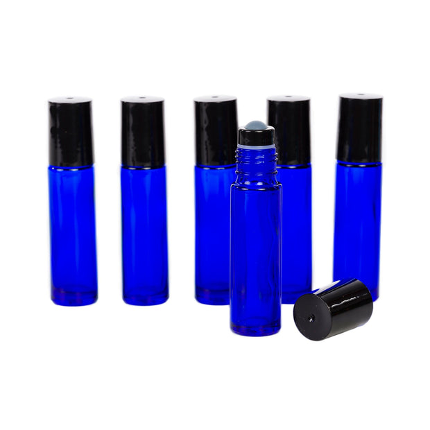 10 ml Glass Bottles with GLASS Roller Tops - 6Pk - Oil Life