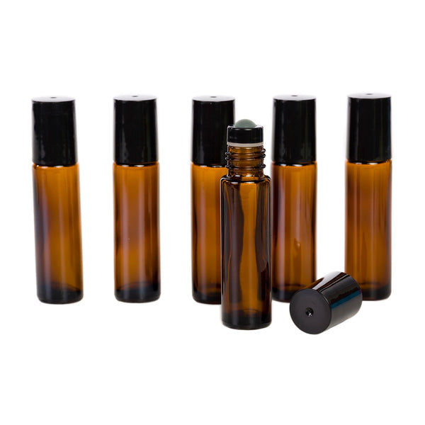 10 ml Glass Bottles with Glass Roller Tops - 6Pk