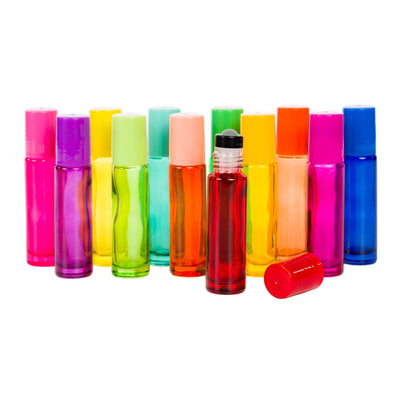 10 ml Multi Color Glass and Lid w/Glass Roller - 12pk - Oil Life