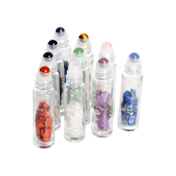 10 ml Gemstone Rollers with Chip Stone - 10Pk