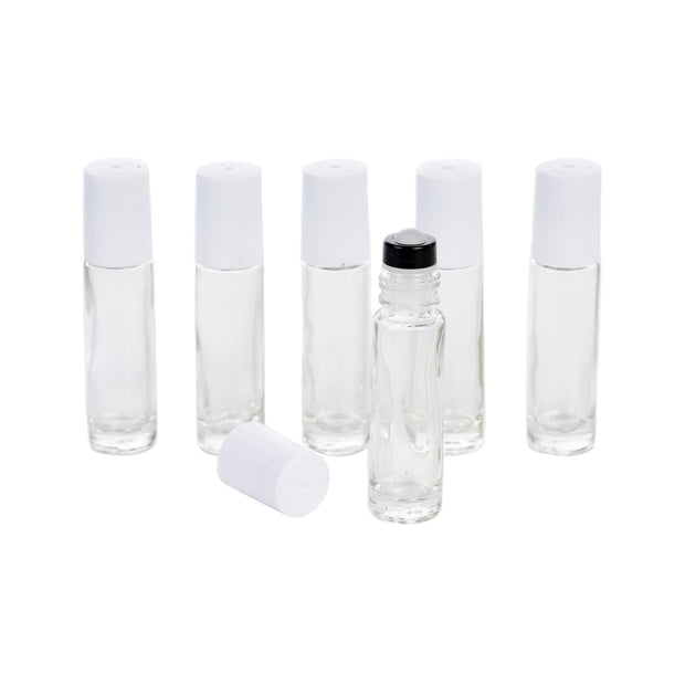 10 ml Clear Roller Bottles w/Glass Roller - 2 Lid Color Options- 6pk - Oil Life