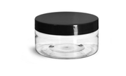 8oz ClearLow Profile Jar w/Black Lid - 2pk