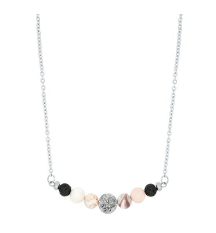 Pink Botswana Agate & Druzy Lava Diffuser Necklace