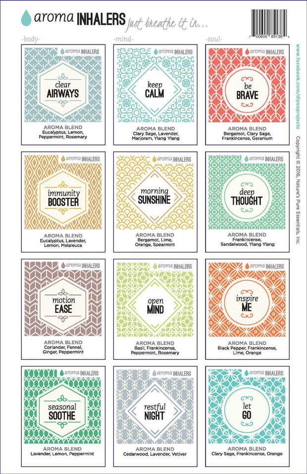 Aroma Inhaler FULL SET Labels - Oil Life