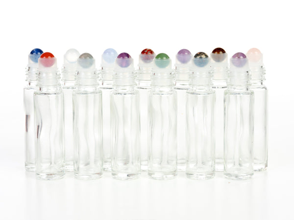 Gemstone Rollers with 10 ml Clear Bottles