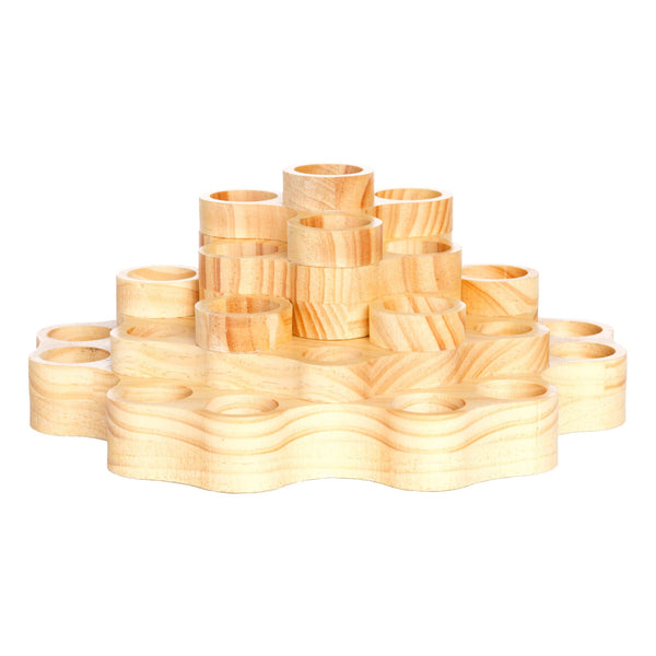 2-tier rotating spindola essential oil display wooden