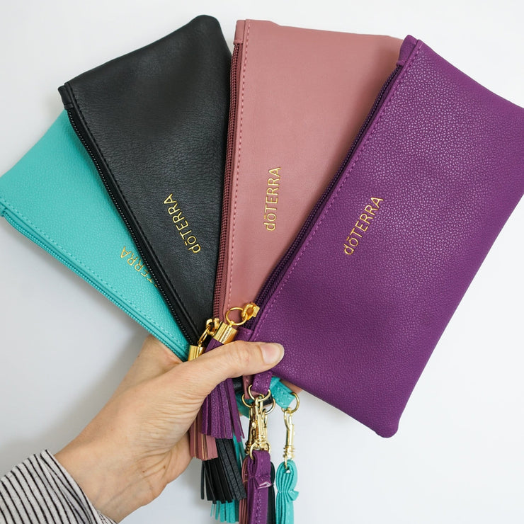 Chic Vegan Leather Essential Oil Wristlet Clutch