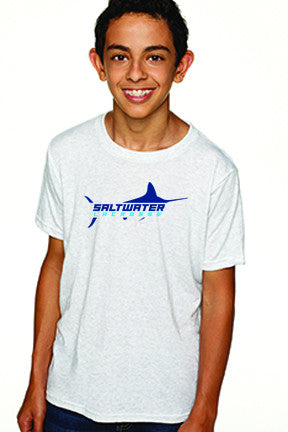 Boy's Custom Saltwater Tee Shirt - Heather White