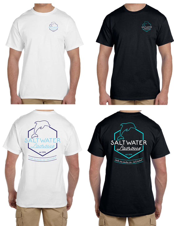 Saltwater Pelagic NEON Short Sleeve T-Shirt White & Black Girls & Boys Logos