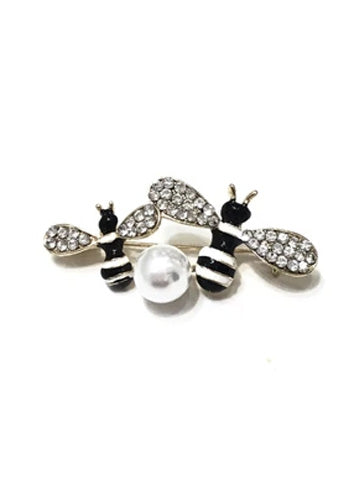 Bumble bee & Pearl brooch