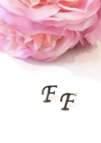 "The Initial ""F"" Stud Earrings"