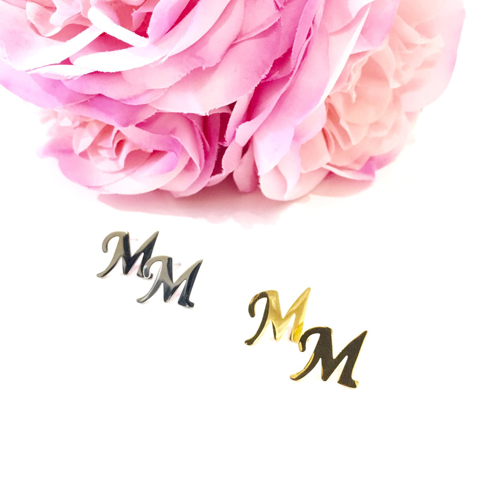 "The Initial ""M"" Stud Earrings - Danielle Emon"