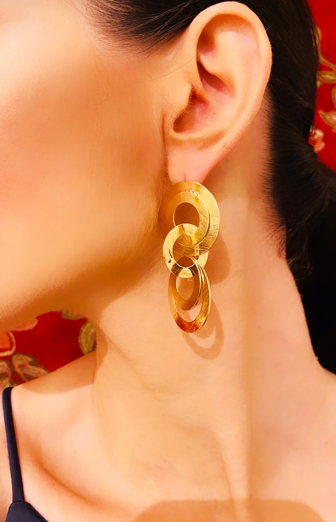 "The ""Lana"" 3 Tiered Gold Earring"
