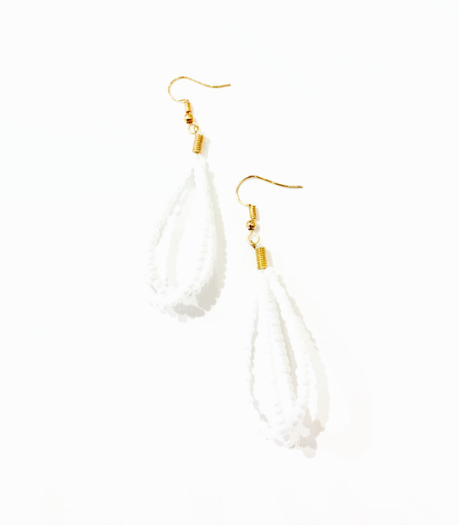 The Cecelia White Beaded Earring