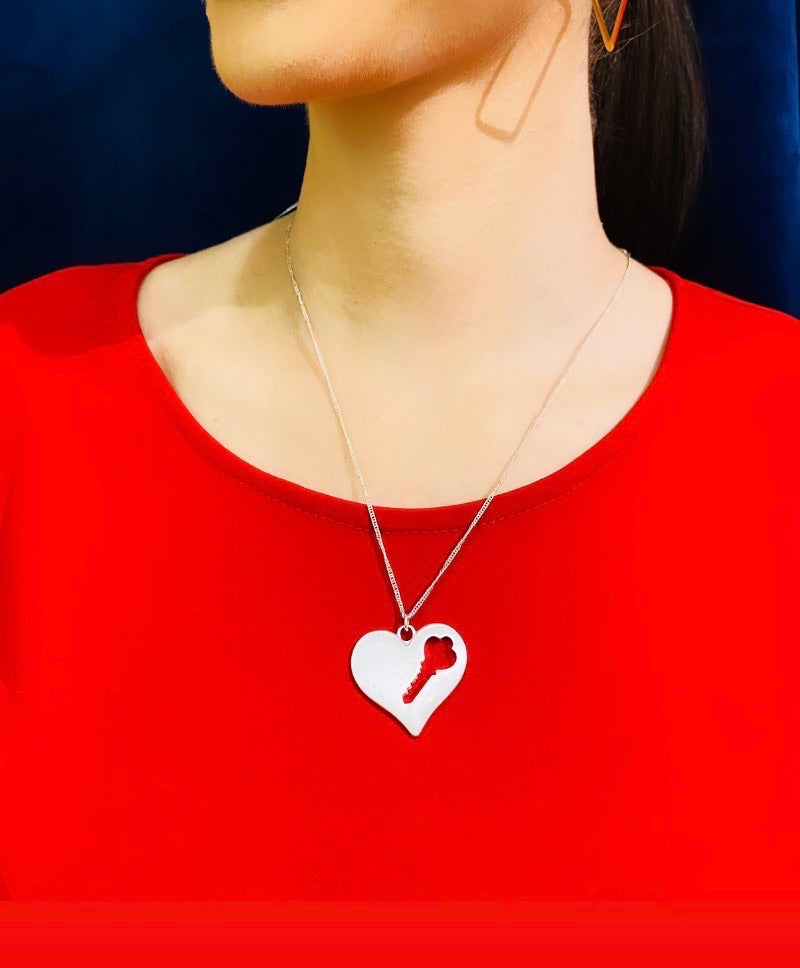 The Esmeralda Heart with Cut out Key Necklace
