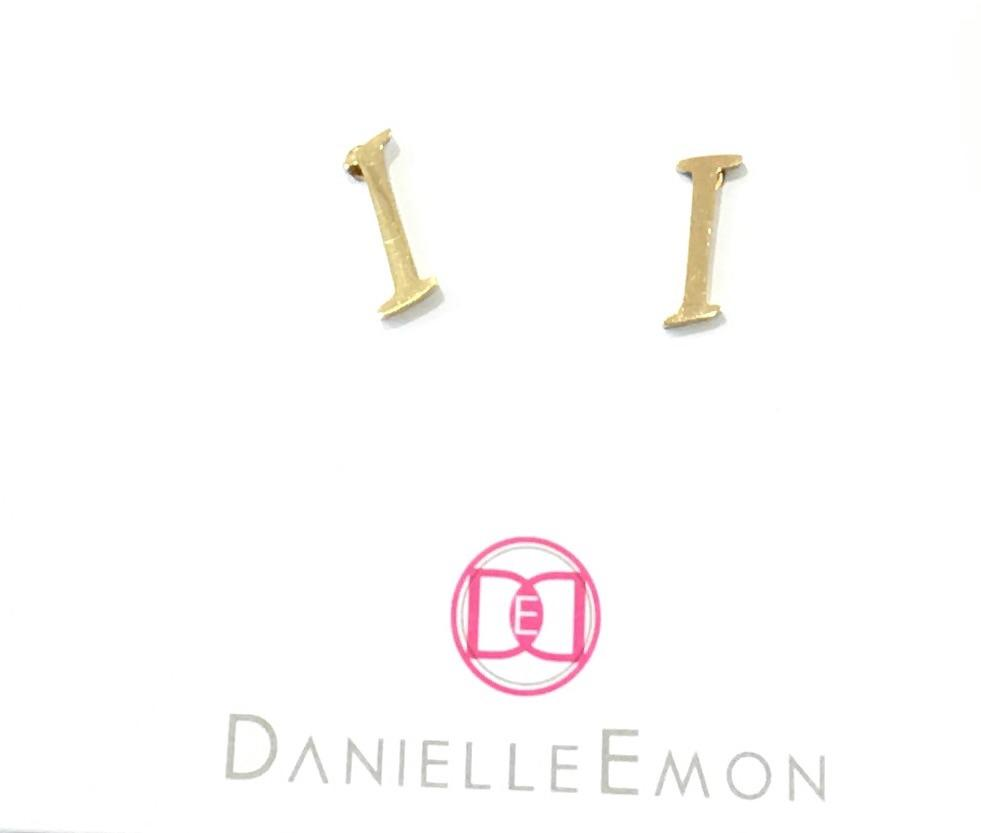 "The Initial ""I"" Stud Earrings - Danielle Emon"