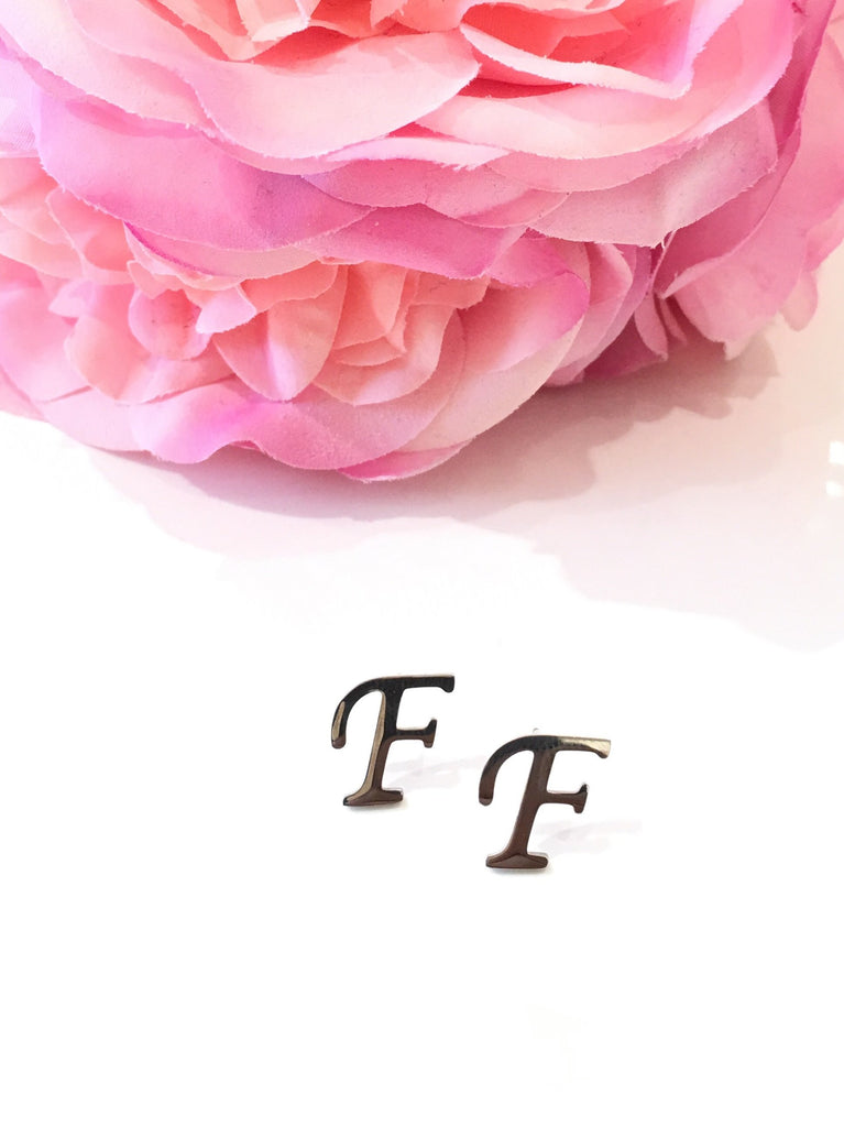 "The Initial ""F"" Stud Earrings - Danielle Emon"