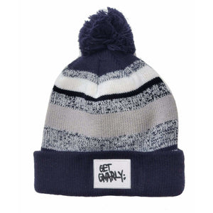Get Gnarly White Box Logo Pom Pom Beanie Navy/Grey-Beanie-Get Gnarly