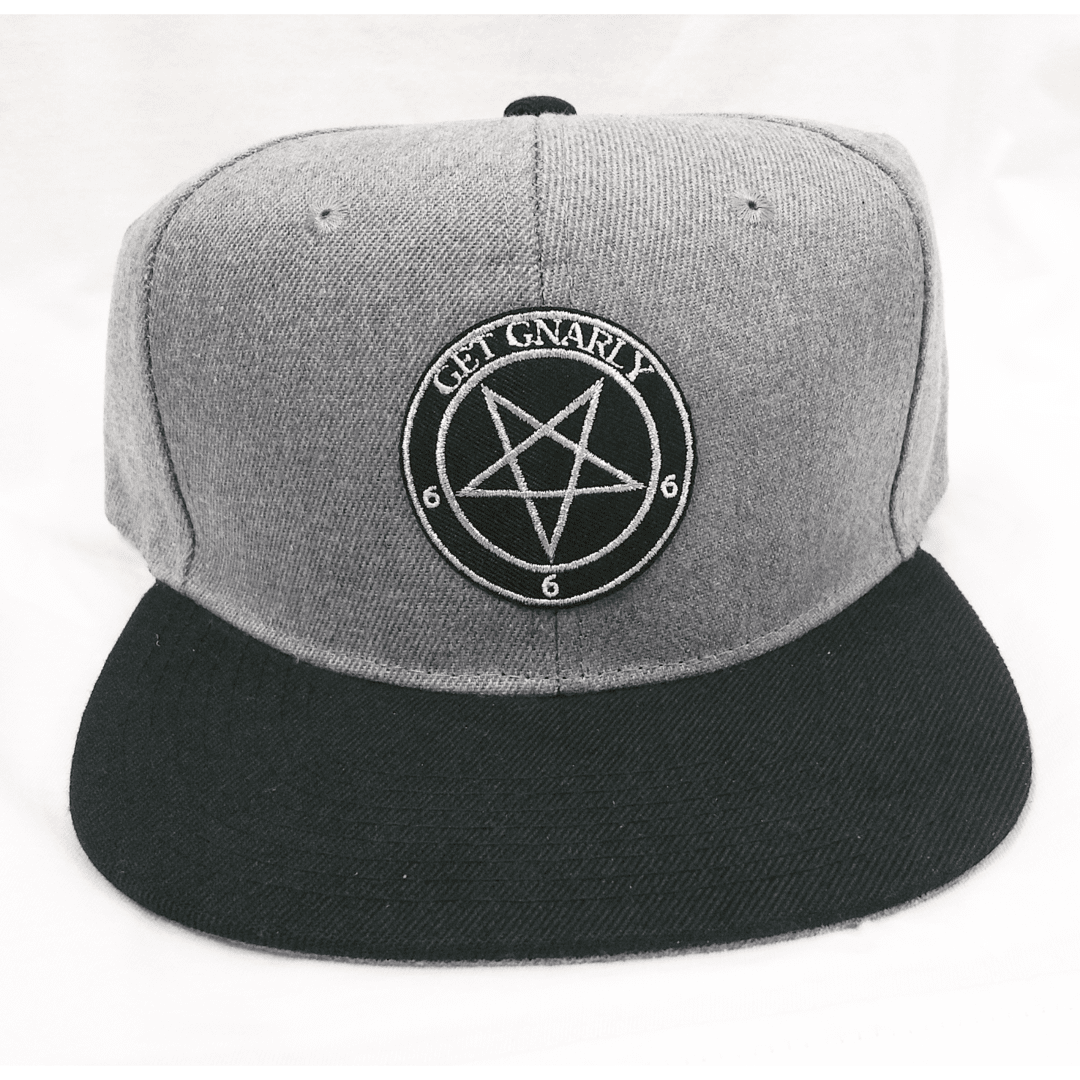 Get Gnarly 666 Pentagram Emblem Snapback Charcoal-Hat-Get Gnarly