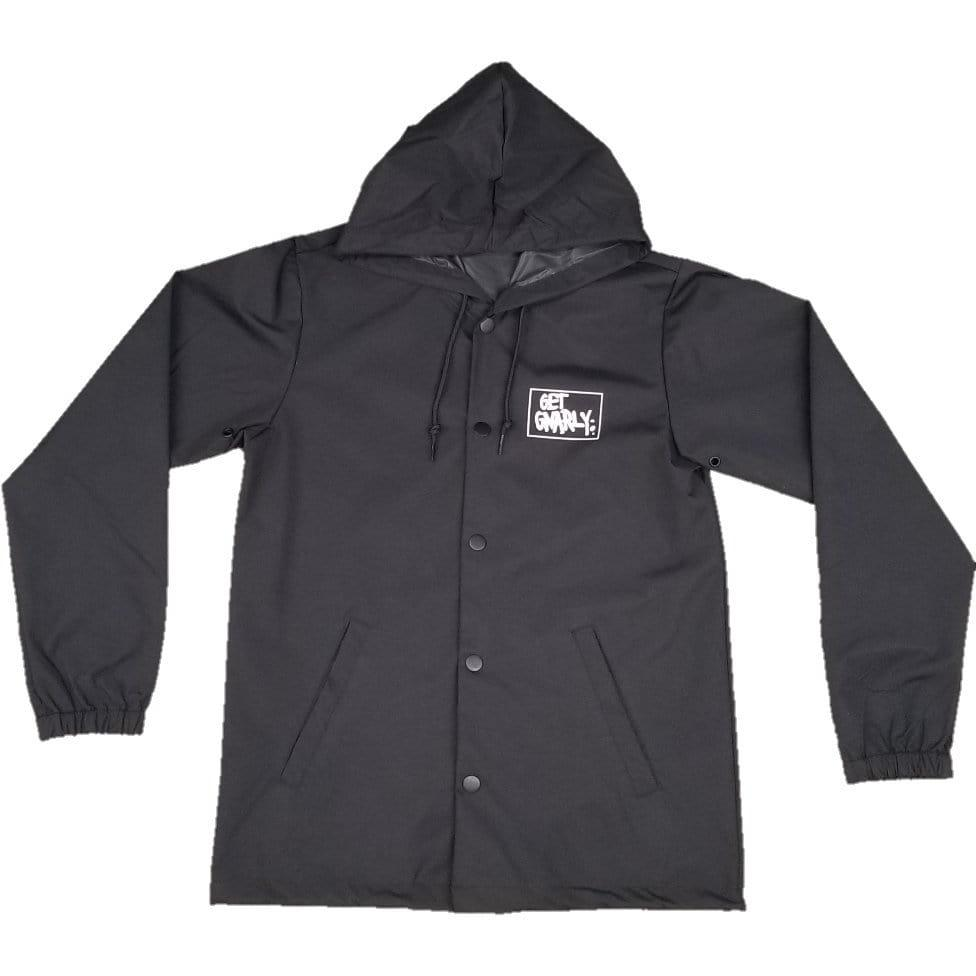 Box Logo Hooded Coaches Jacket Black-Jackets-Get Gnarly