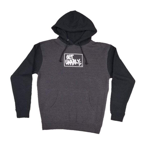 Get Gnarly Box Logo Pullover Hoodie Charcoal Heather Black-Sweatshirt-Get Gnarly