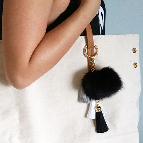 Black fluffy ball and tassel keychain