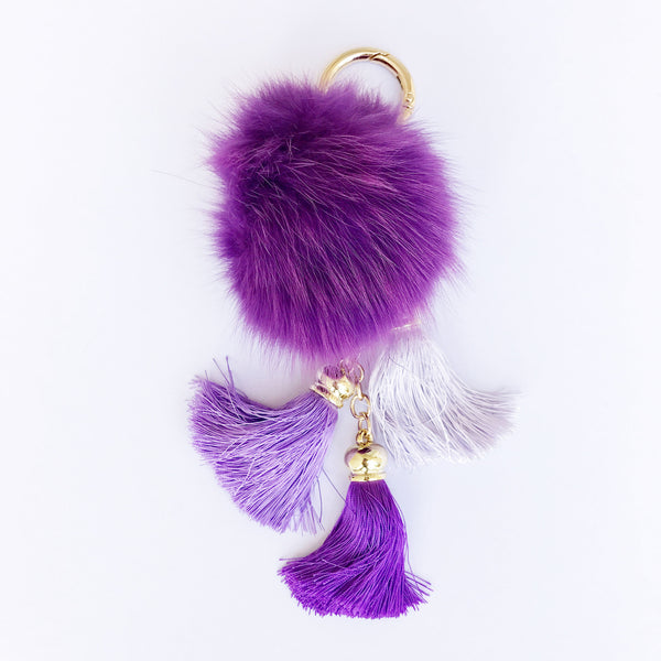 Purple fluffy ball and tassel keychain