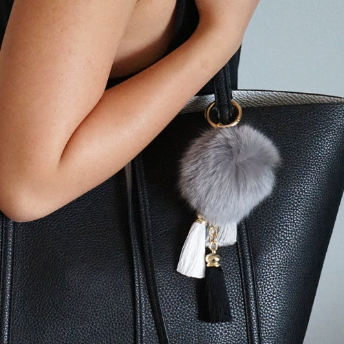 Grey fluffy ball and tassel keychain