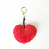 Red fluffy heart keychain