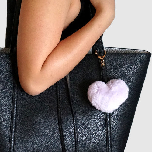 Purple fluffy heart keychain