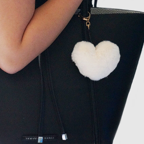 White fluffy heart keychain