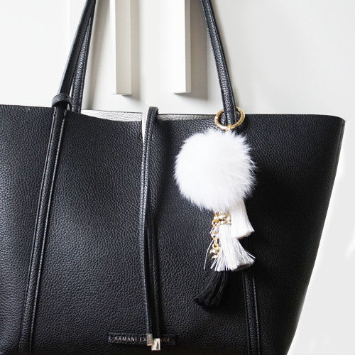 White fluffy ball and tassel keychain