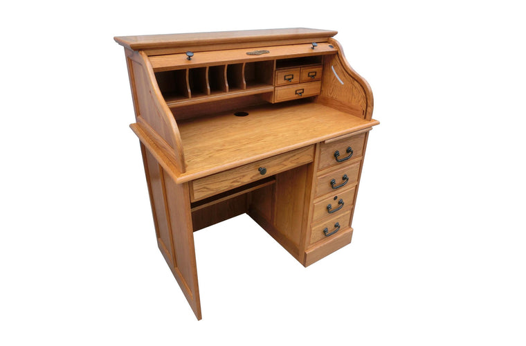 Single Pedestal Oak Roll Top Desk