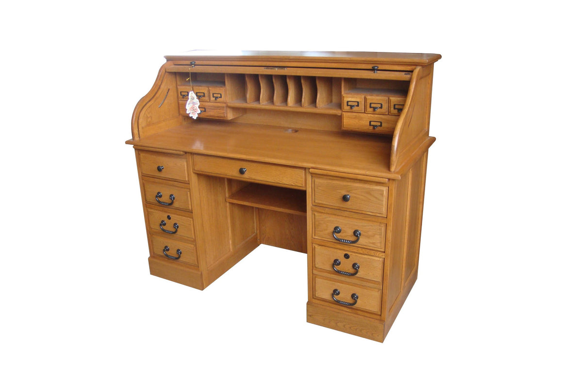 Oak Roll Top Desk - TheOfficeFurnitureDepot