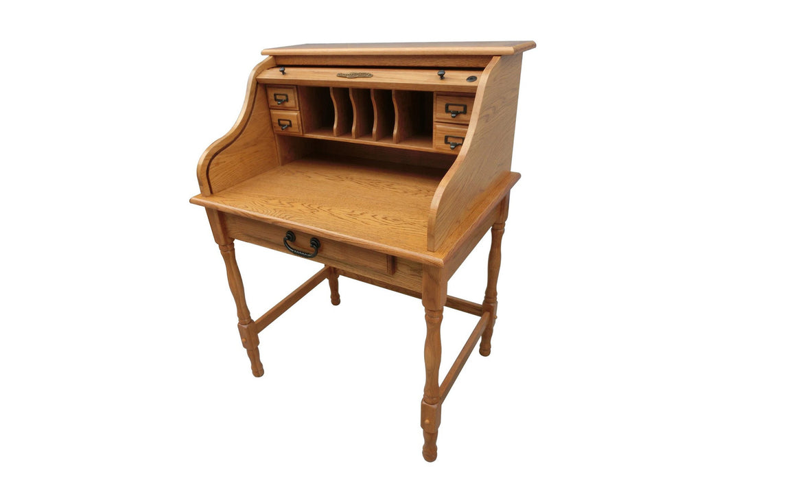 "32"" Oak Roll Top Desk - TheOfficeFurnitureDepot"