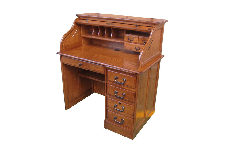 Single Pedestal Walnut Roll Top Desk