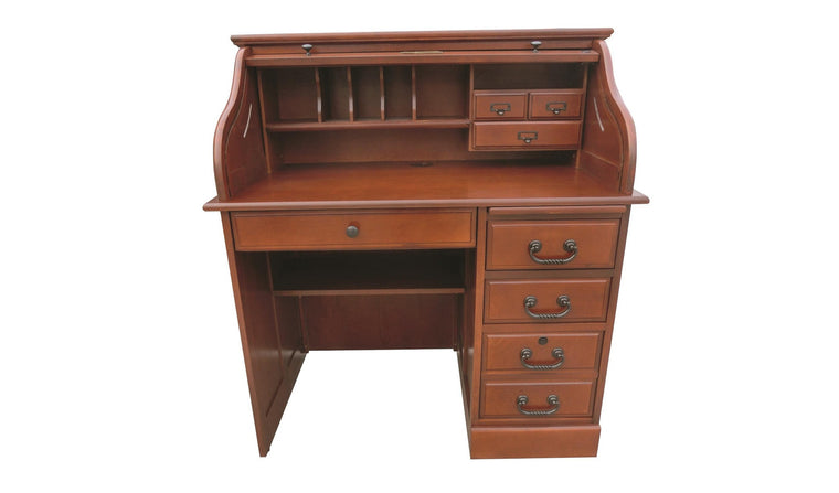 Cherry Single Pedestal Roll Top Desk - TheOfficeFurnitureDepot
