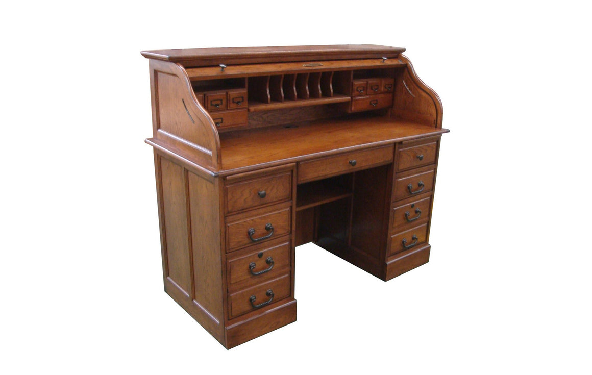 Walnut Roll Top Desk - TheOfficeFurnitureDepot