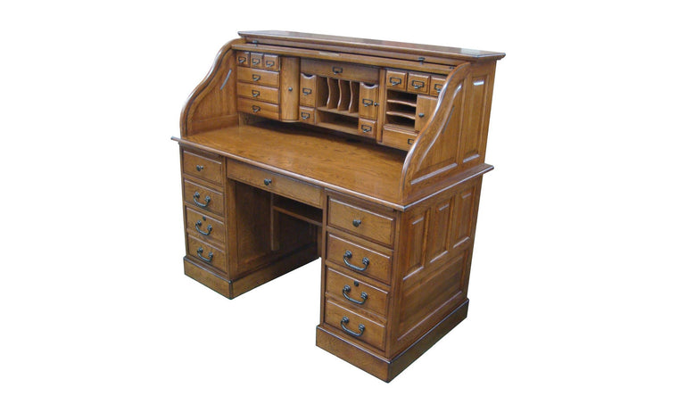 Deluxe Walnut Roll Top Desk