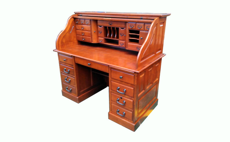 Deluxe Cherry Roll Top Desk - TheOfficeFurnitureDepot