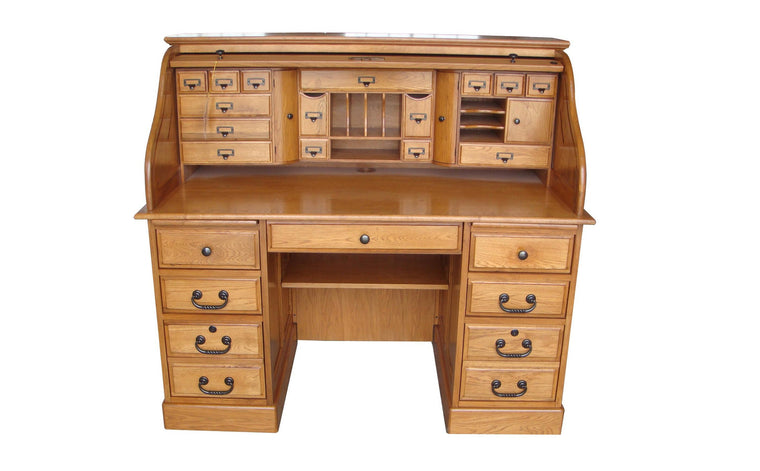 Deluxe Oak Roll Top Desk - TheOfficeFurnitureDepot