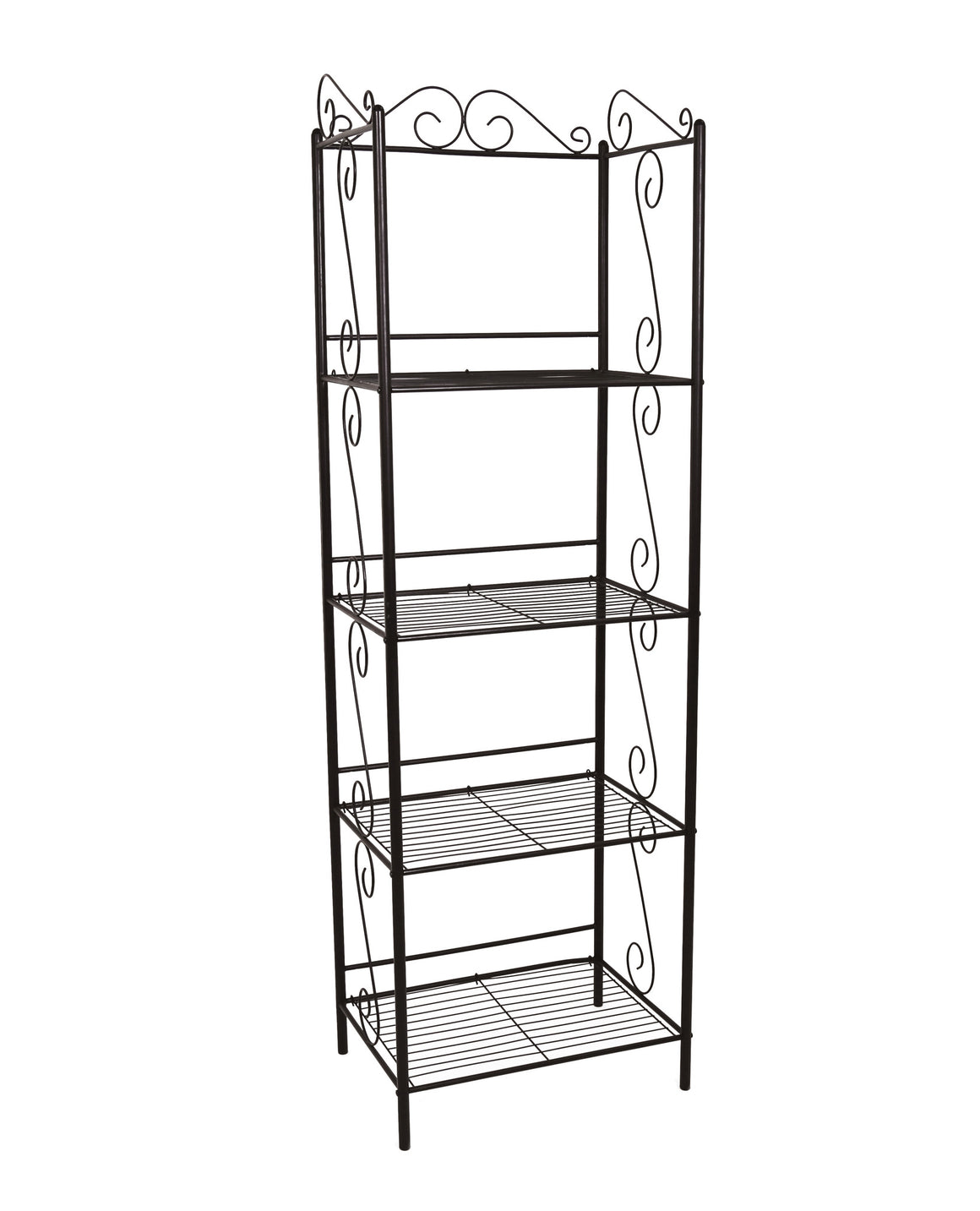 "70""H Copper Metal Etagere Bookcase by Monarch Specialties - White Background - TheOfficeFurnitureDepot"