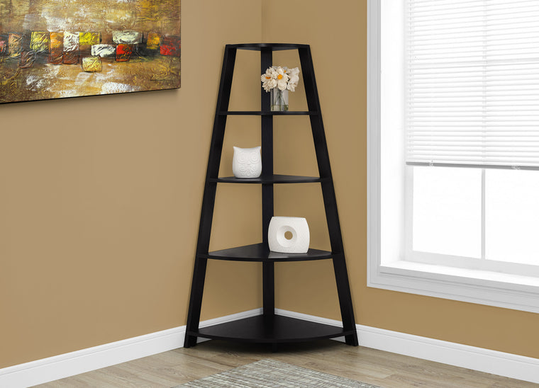 "60""H Cappucino Corner Accent Etagere Bookcase by Monarch Specialties - TheOfficeFurnitureDepot"
