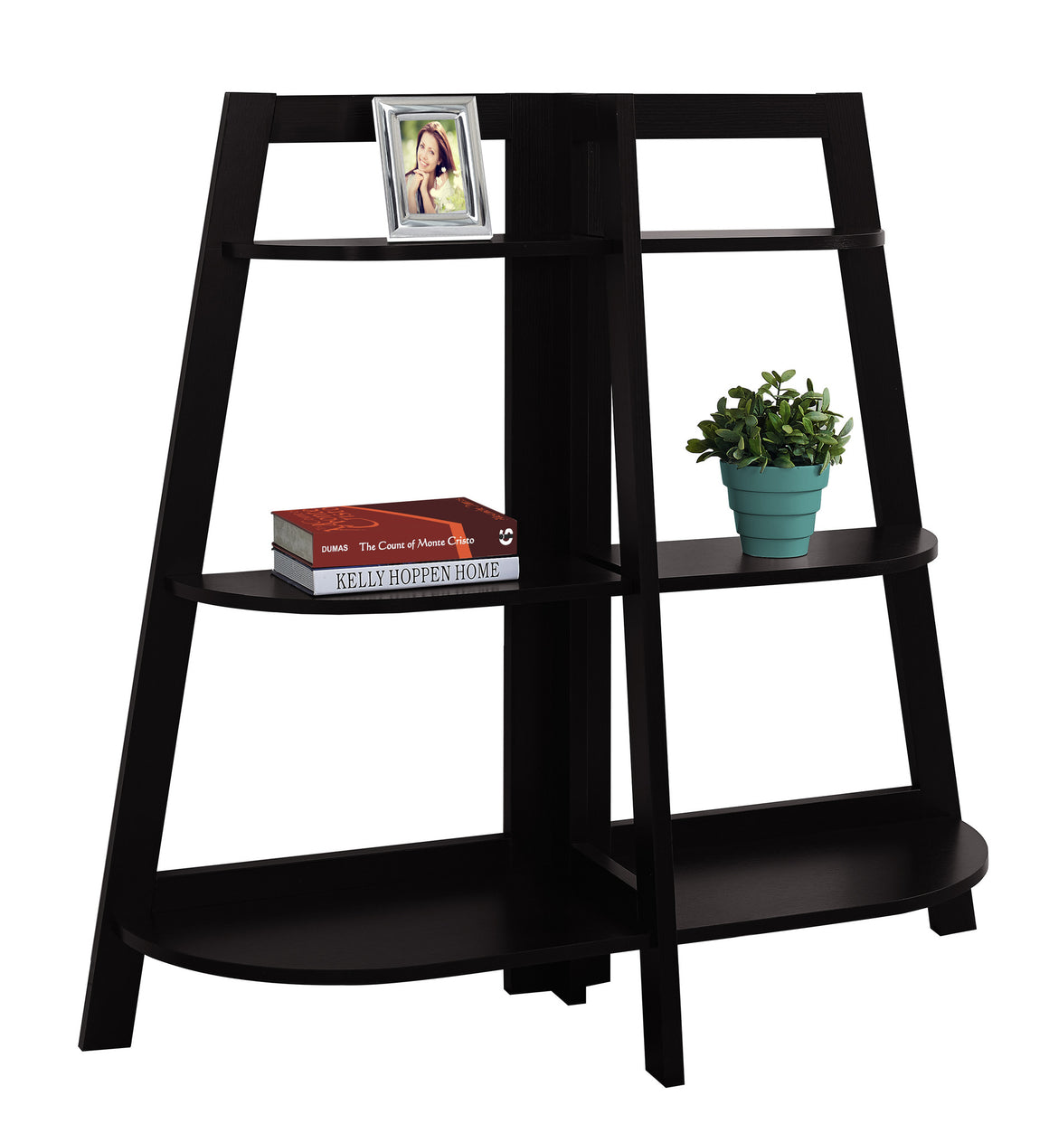 "48""H Cappuccino Accent Etagere Bookcase by Monarch Specialties - White Background - TheOfficeFurnitureDepot"
