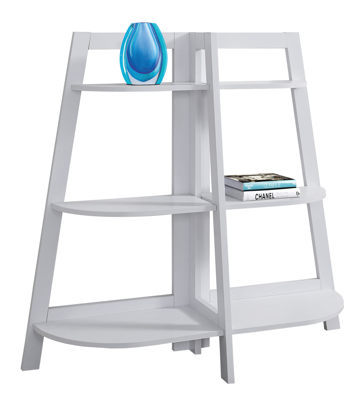 "48""H White Accent Etagere Bookcase by Monarch Specialties - White Background - TheOfficeFurnitureDepot"