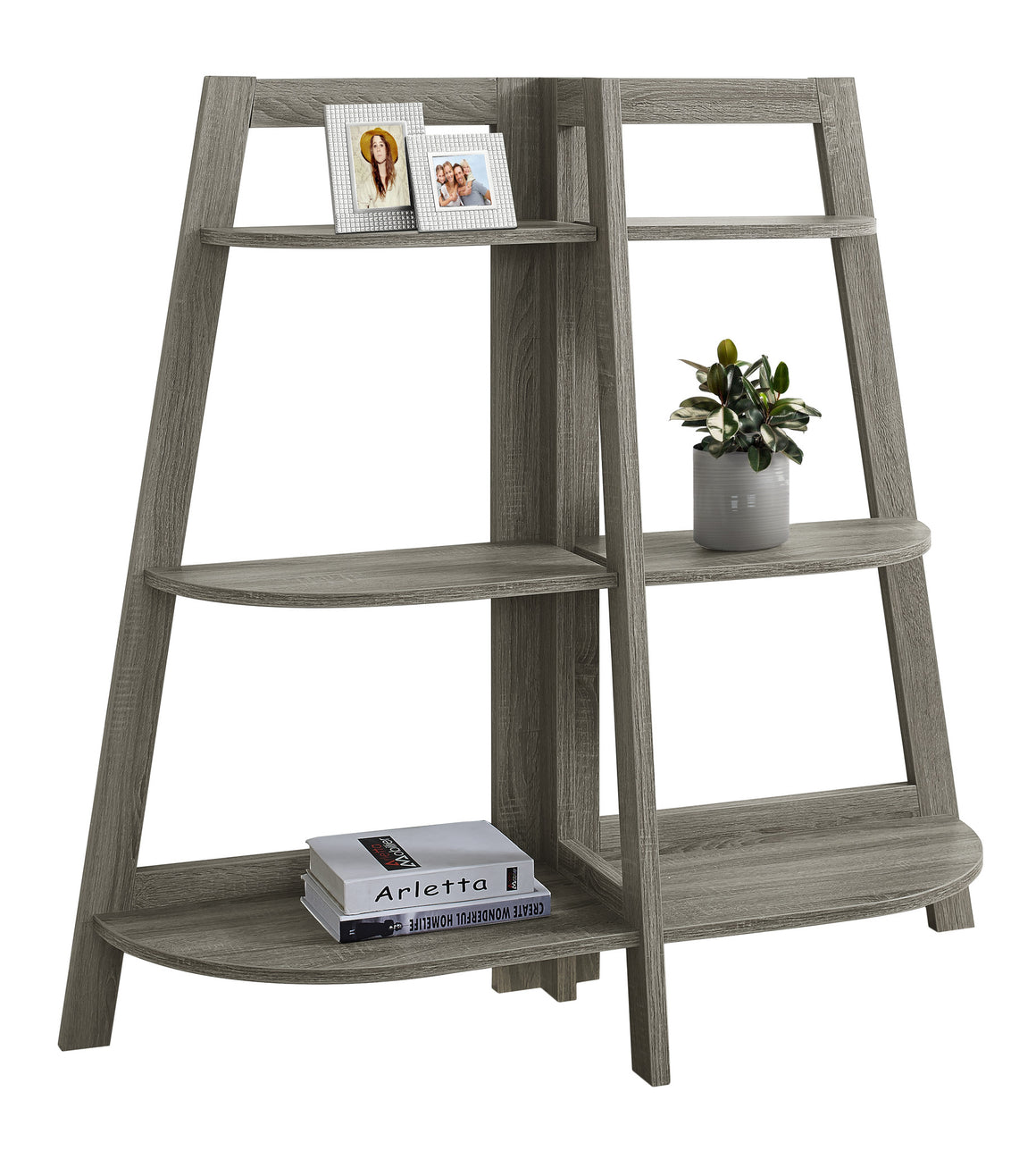 "48""H Dark Taupe Accent Etagere Bookcase by Monarch Specialties - White Background - TheOfficeFurnitureDepot"
