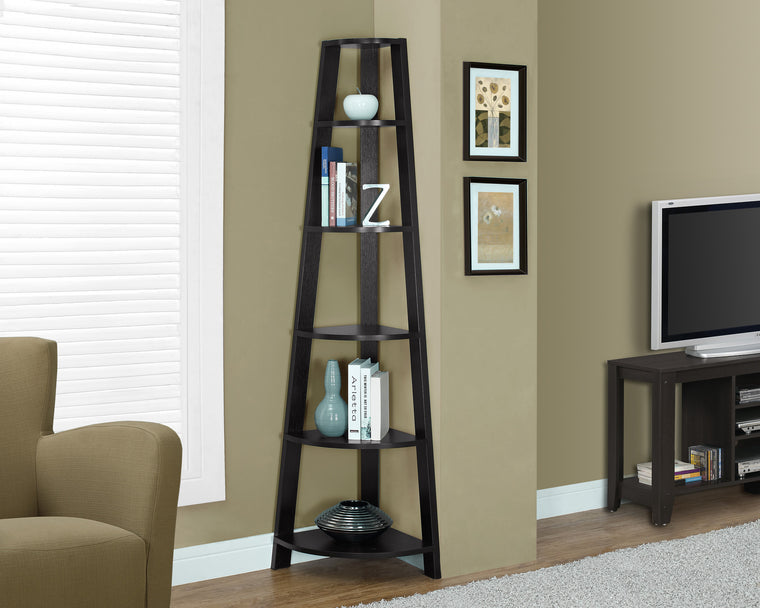 "72""H Cappuccino Corner Accent Etagere Bookcase by Monarch Specialties Inc. - TheOfficeFurnitureDepot"