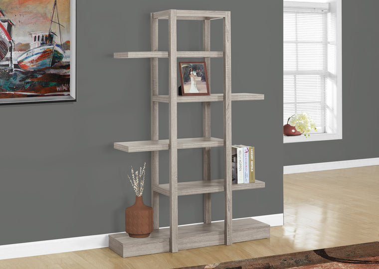 "71""H Dark Taupe Open Concept Display Etagere Bookcase by Monarch Specialties - TheOfficeFurnitureDepot"