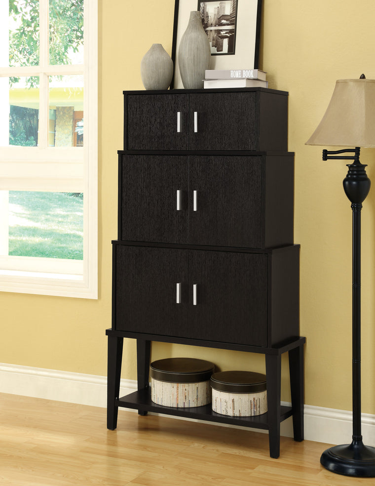 "55""H Cappuccino Stacking Style Cabinet by Monarch Specialties - TheOfficeFurnitureDepot"