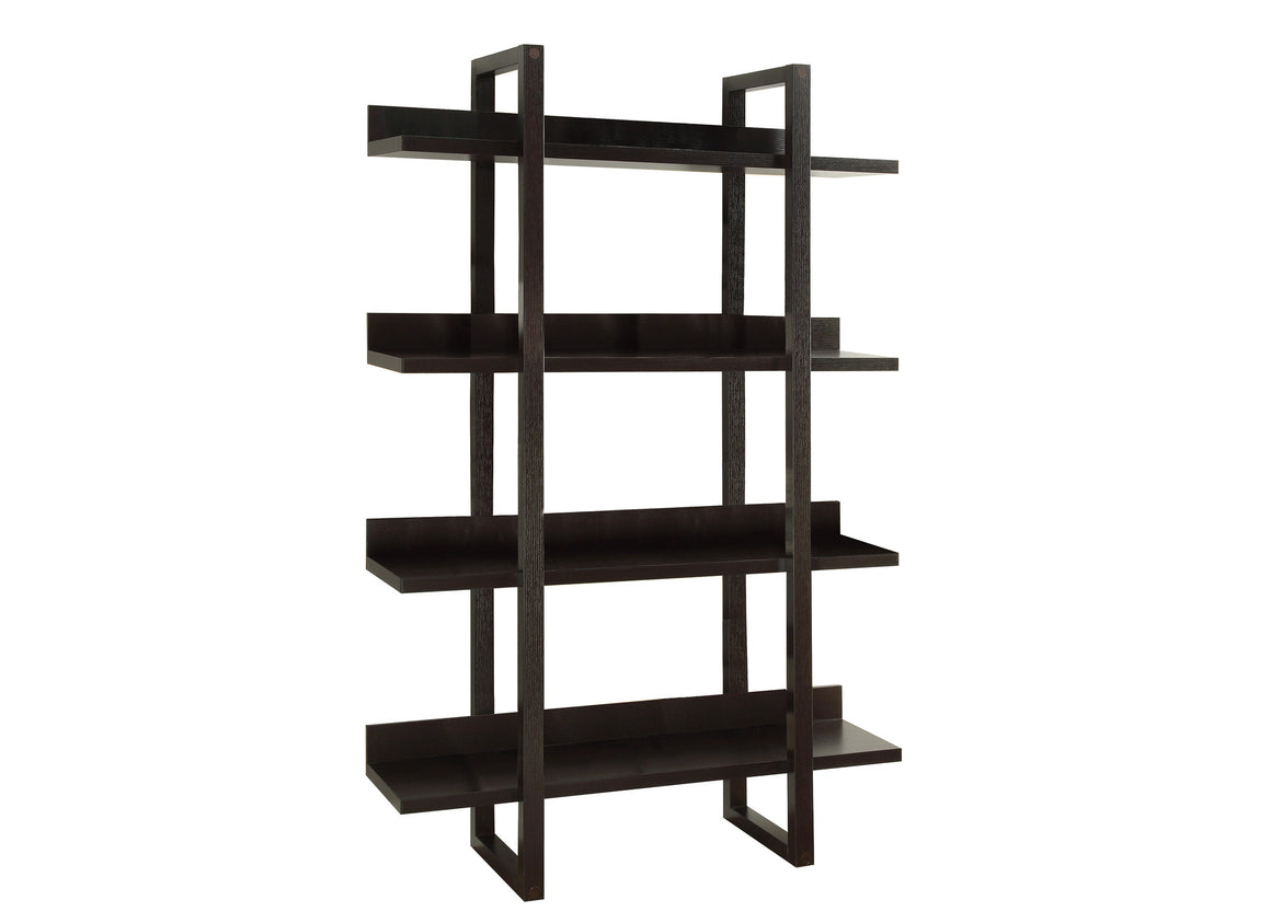 "71""H Cappuccino Open Concept Display Etagere Bookcase by Monarch Specialties - White Background - TheOfficeFurnitureDepot"